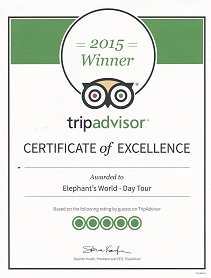 ElephantsWorld Winner Tripadvisor 2015 - click for link